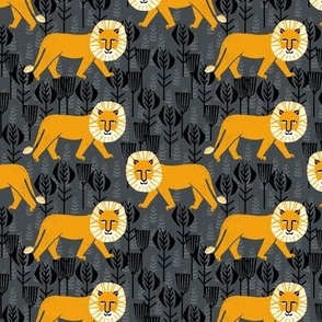 Safari Lion - Turmeric/Charcoal (Smaller Size) by Andrea Lauren
