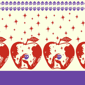 Snow White Purple Red Apple Border Print