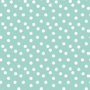 dots // mint white polka dots mini print cute small scale