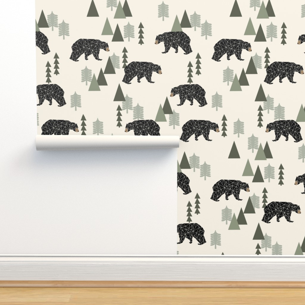 Isobar Durable Wallpaper featuring forest bear // cream green neutral baby nursery boys forest mountain woodland geometric bear by andrea_lauren