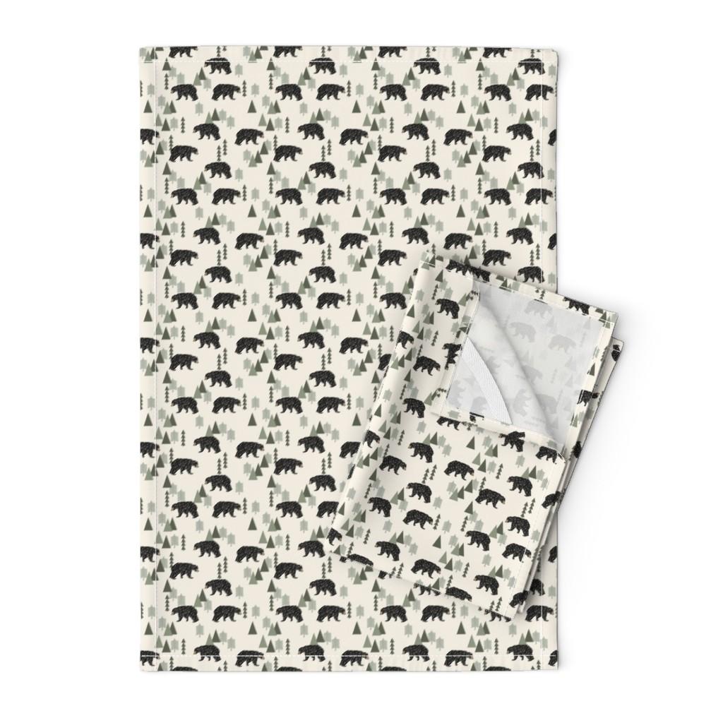 Orpington Tea Towels featuring forest bear // cream green neutral baby nursery boys forest mountain woodland geometric bear by andrea_lauren