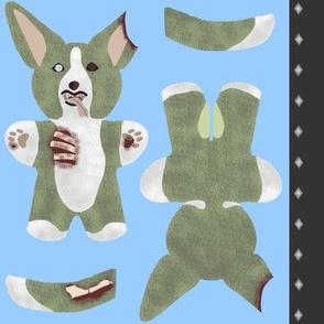 Kawaii Corgi mini plushie - Zombie