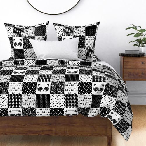 pink baby girl cotton fabric set cushion panda design Panda cot bed patchwork quilt grey chevron white bunting stripe handmade