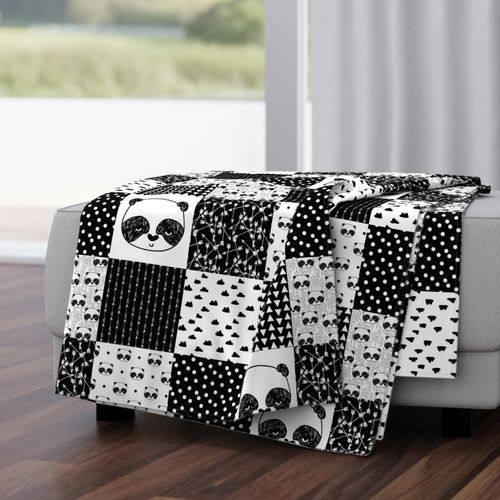 Black and white patchwork nursery baby blanket