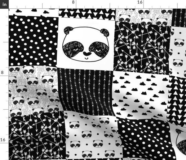 White Pink Cotton Fabric Children Nursery Girls Quilting Dressmaking Panda