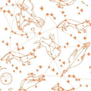 constellations // orange sky night stars bright dream animals kids nursery print