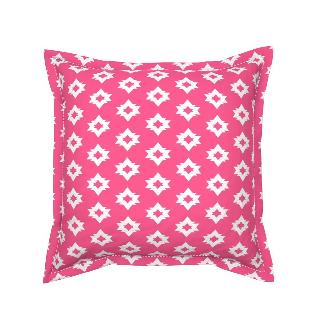 Serama Throw Pillow featuring Aztec - Bright Pink by Andrea Lauren by andrea_lauren