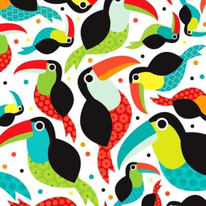 Pura vida brazil toucan illustration bird tropical summer kids pattern