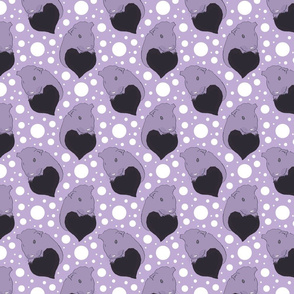 Whimsical Guinea pigs with hearts - purple