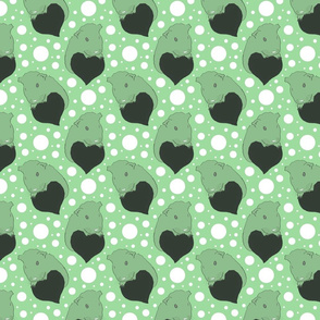 Whimsical Guinea pigs with hearts - green