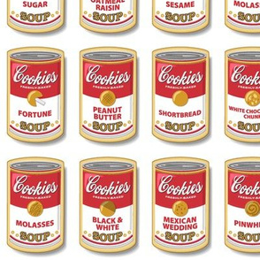 Snicker Doodle Soup || cookies cans pop art food typography