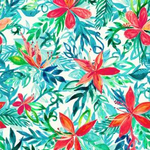 Bright Colors Tropical Watercolor Floral