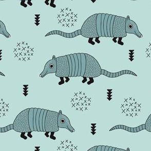 Cute quirky armadillo cactus woodland fun wester theme kids animals pattern and geometric details scandinavian style pastel blue