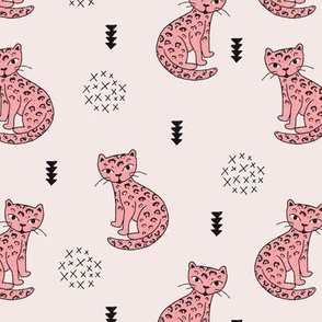 Adorable girls leopard tiger kitten fun panther style cat illustration and geometric details beige and soft pastel pink