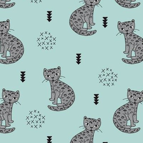 Adorable boys tiger kitten fun panther style cat illustration and geometric details gray and soft blue