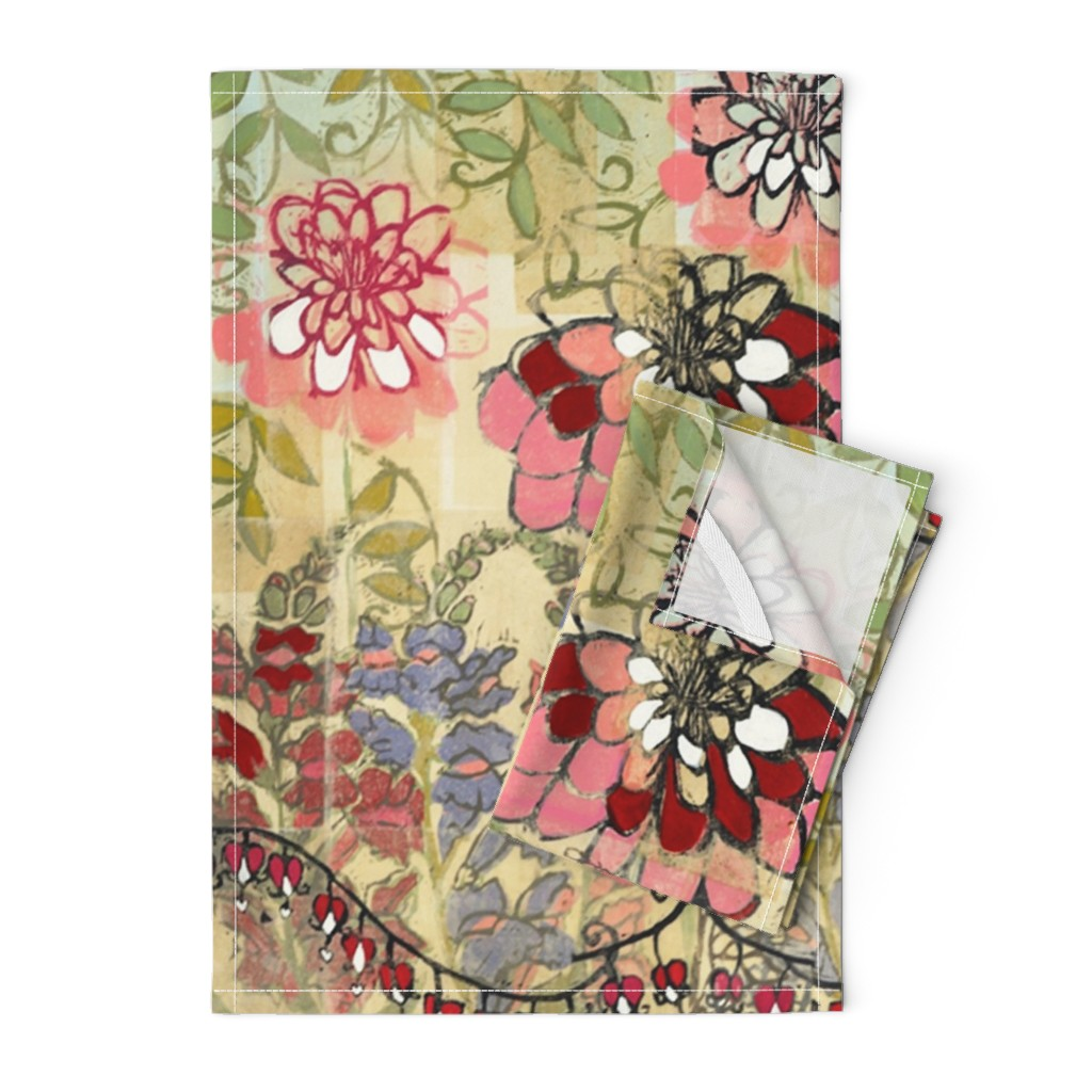Orpington Tea Towels featuring Nonna's Garden by maria_pezzano