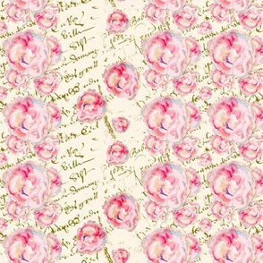 Watercolor Roses on French Script