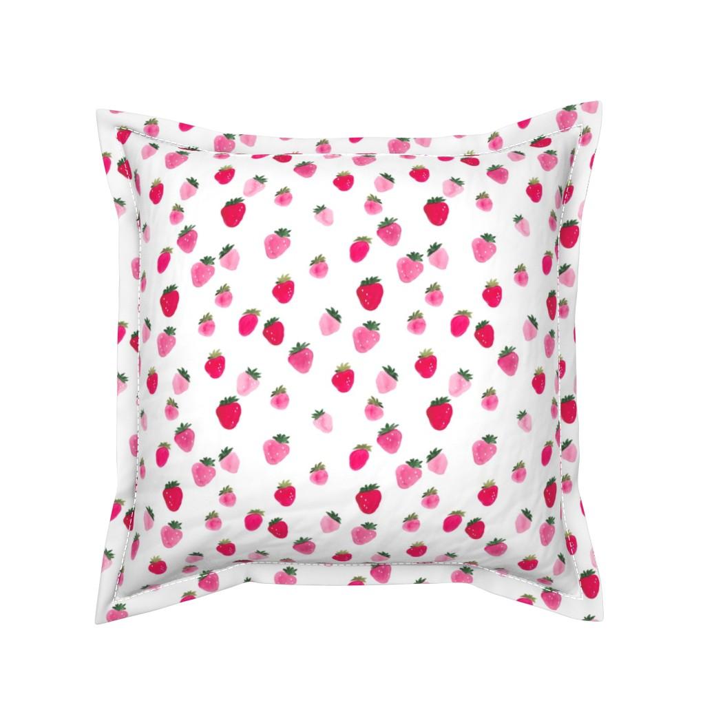 Serama Throw Pillow featuring Watercolor strawberries Summer by thislittlestreet