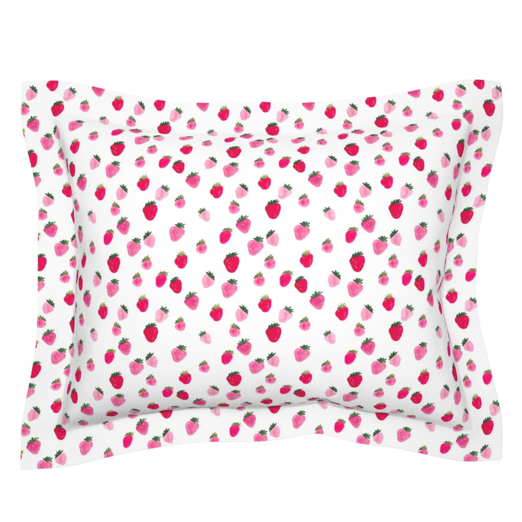 Sebright Pillow Sham featuring Watercolor strawberries Summer by thislittlestreet