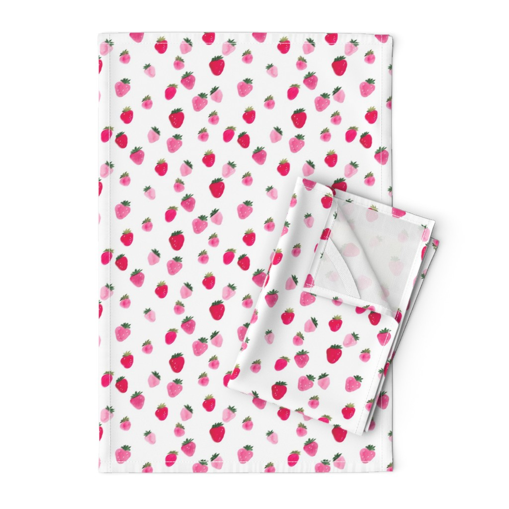 Orpington Tea Towels featuring Watercolor strawberries Summer by thislittlestreet