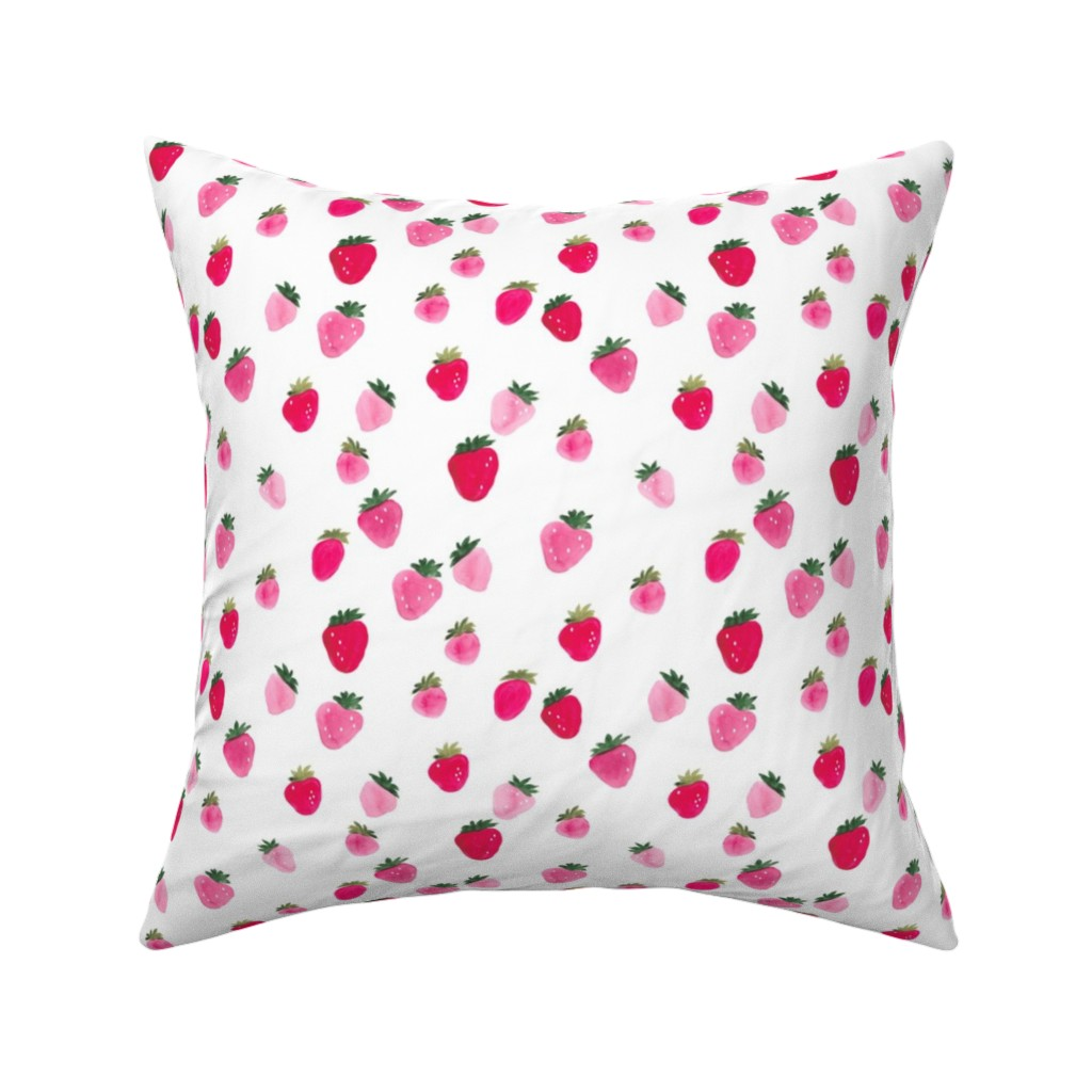 Catalan Throw Pillow featuring Watercolor strawberries Summer by thislittlestreet