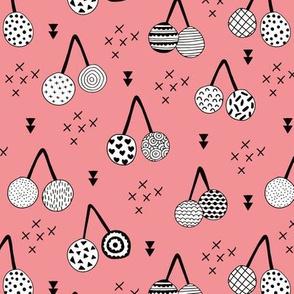 Spring summer fruit designs cherry blossom and arrows Scandinavian illustration Pink