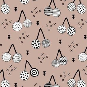Spring summer fruit designs cherry blossom and arrows Scandinavian illustration beige gender neutral