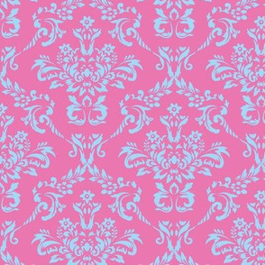 Pink and Blue Damask