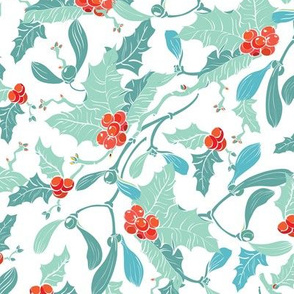 Mistletoe Holly Berries Blue Red Seamless Pattern, Pastel Colors