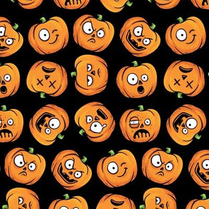 Halloween Funny Pumpkin, Jack-o-lantern Faces on Black