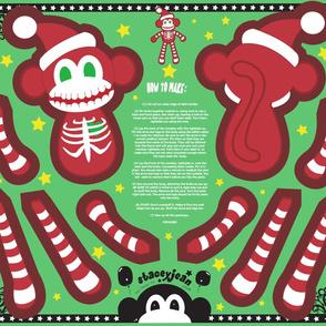 Skeleton Santa Monkey Cut & Sew Doll (FQ)
