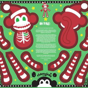 Skeleton Santa Monkey Cut & Sew Doll  (YD)