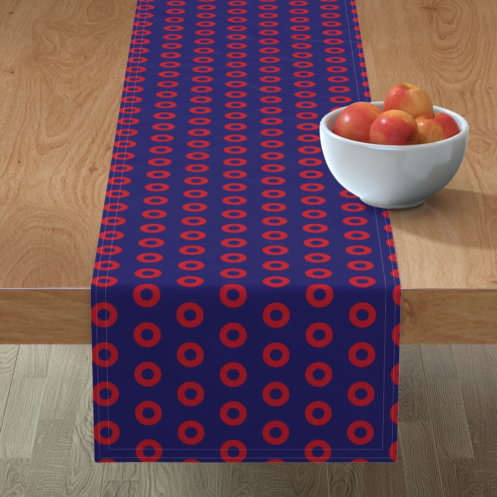 Minorca Table Runner featuring Phish Red Donuts -Red Donut Circles on Blue by furbuddy