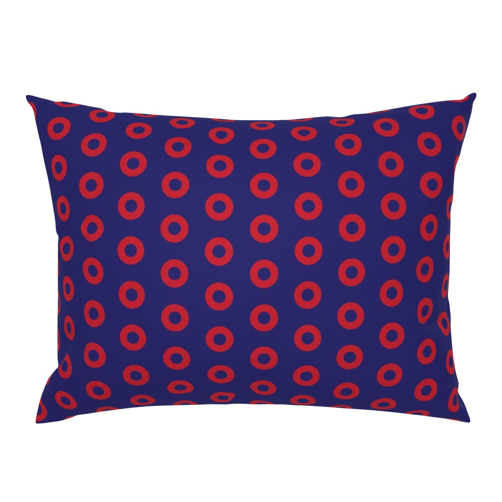 Campine Pillow Sham featuring Phish Red Donuts -Red Donut Circles on Blue by furbuddy
