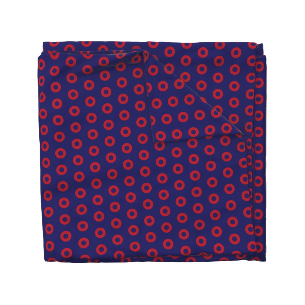 Wyandotte Duvet Cover featuring Phish Red Donuts -Red Donut Circles on Blue by furbuddy