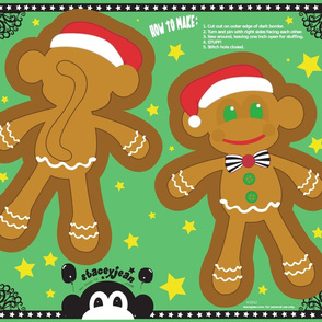 Gingerbread Monkey Cut & Sew Pillow Doll (FQ)