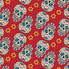 Sugar Skull Day Of The Dead Red