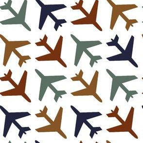 airplanes_navy_rust_blue_gold on White background