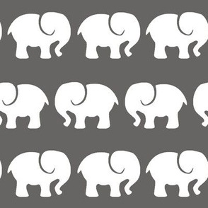 white elephants on dark gray background