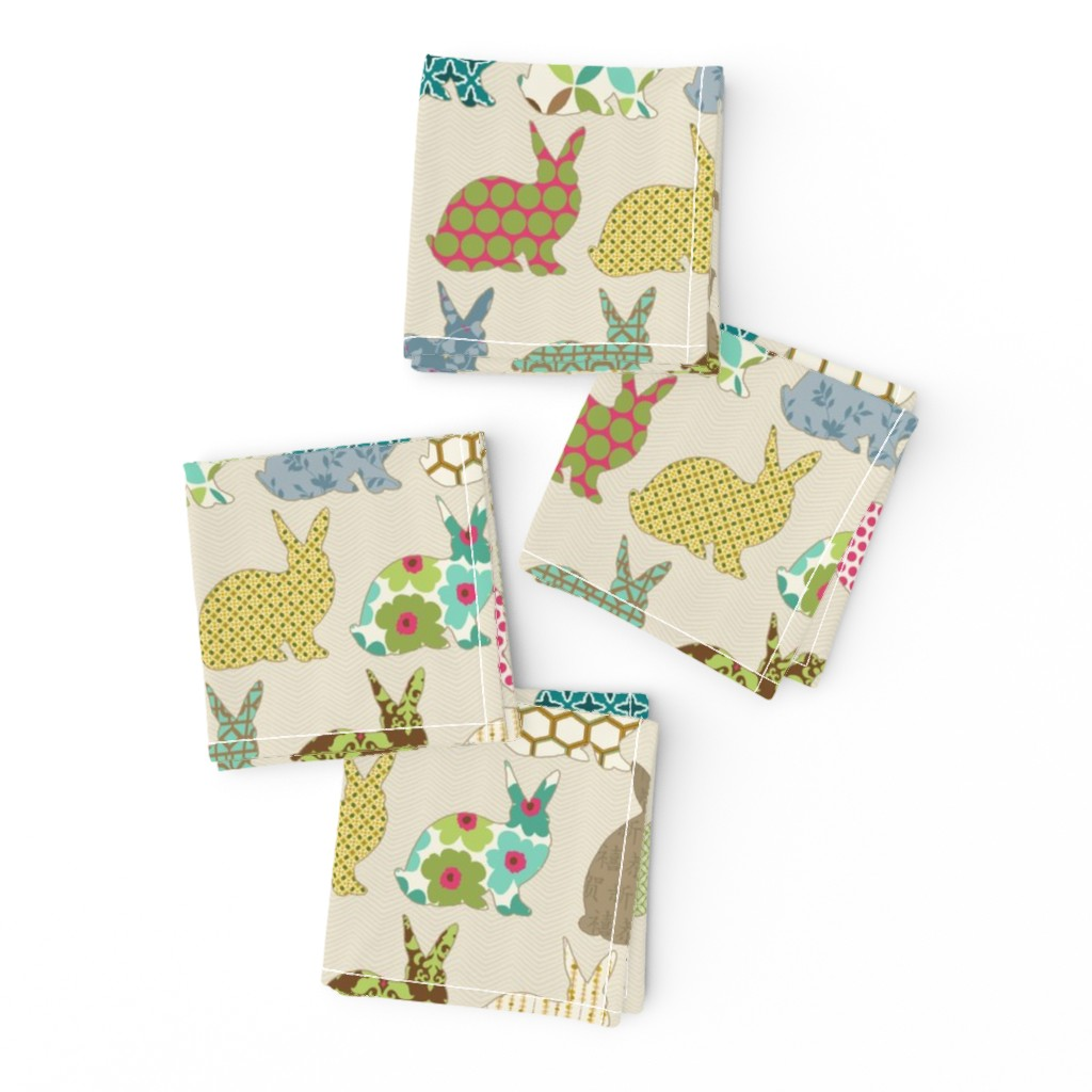 Frizzle Cocktail Napkins featuring year of the COLORFUL rabbit by littlerhodydesign
