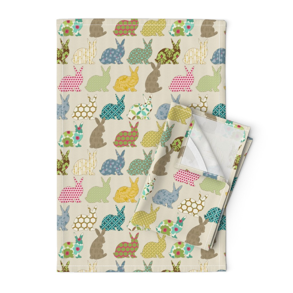 Orpington Tea Towels featuring year of the COLORFUL rabbit by littlerhodydesign
