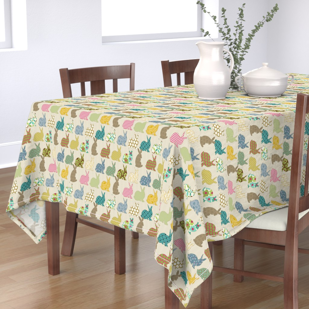 Bantam Rectangular Tablecloth featuring year of the COLORFUL rabbit by littlerhodydesign