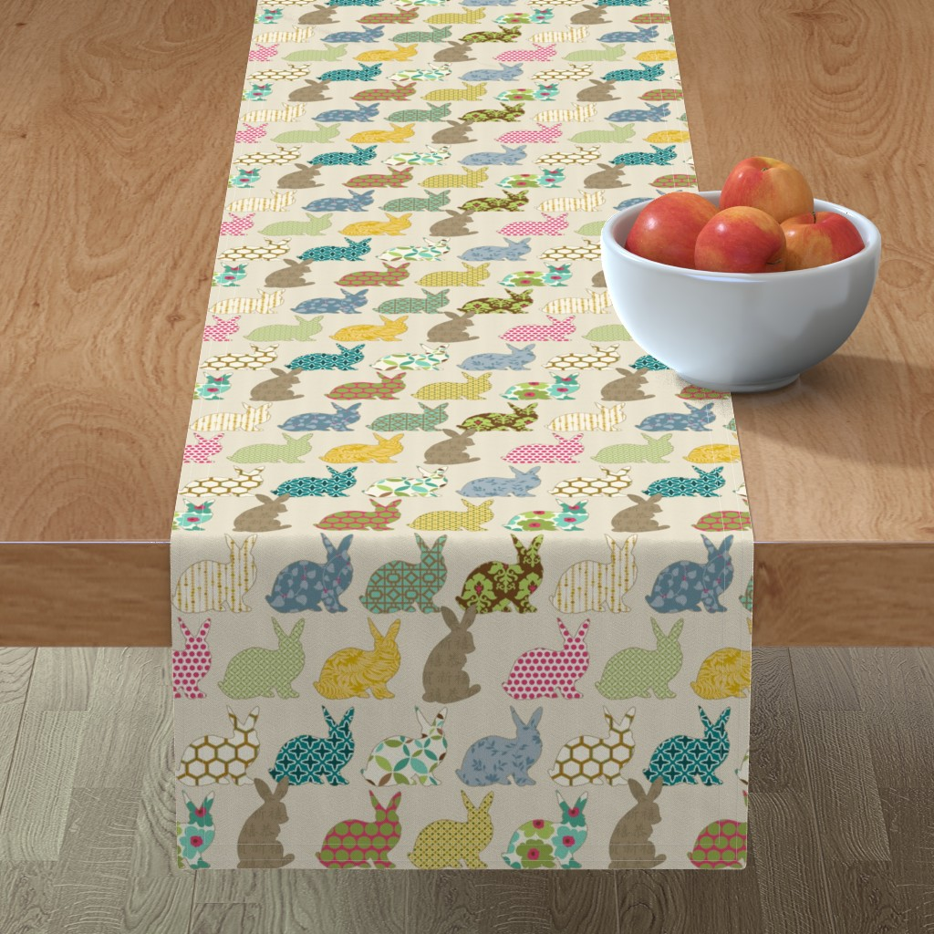 Minorca Table Runner featuring year of the COLORFUL rabbit by littlerhodydesign