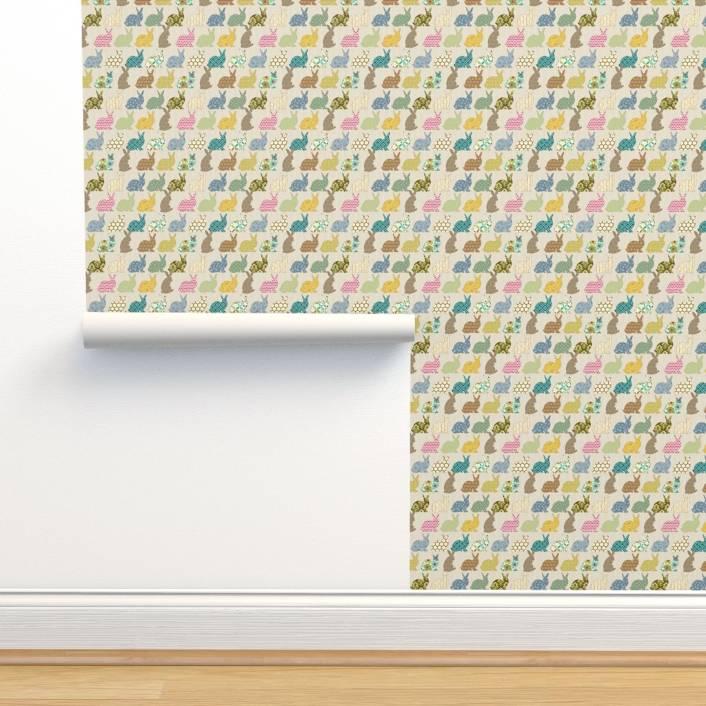 Isobar Durable Wallpaper featuring year of the COLORFUL rabbit by littlerhodydesign