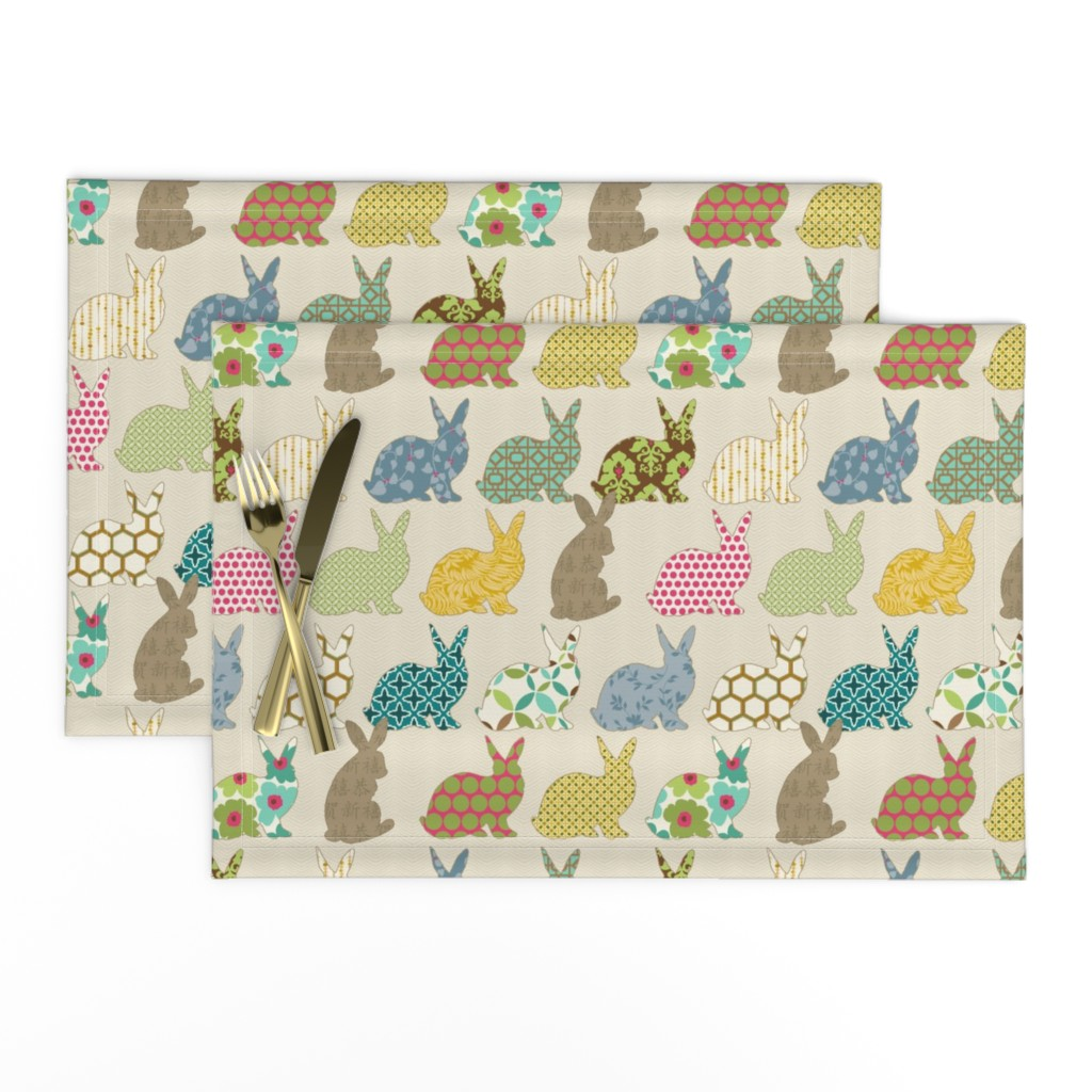 Lamona Cloth Placemats featuring year of the COLORFUL rabbit by littlerhodydesign