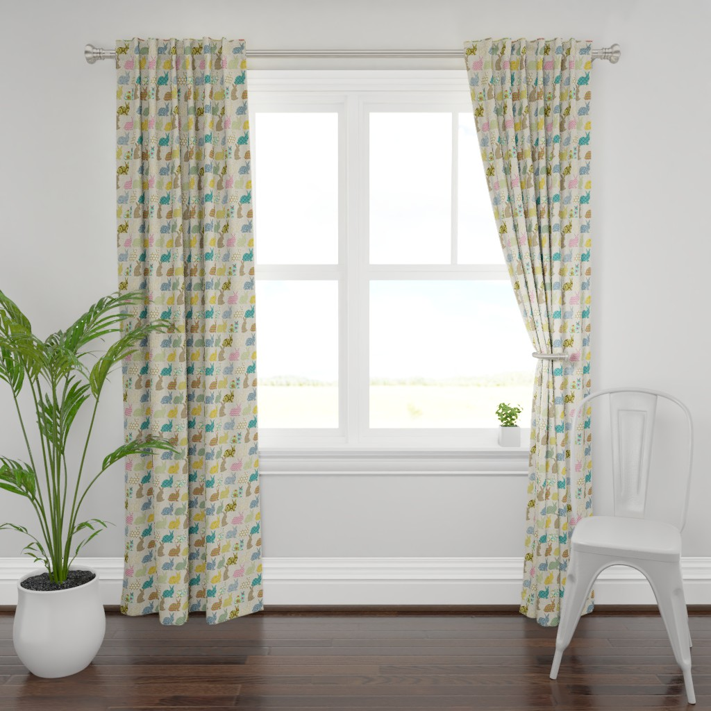 Plymouth Curtain Panel featuring year of the COLORFUL rabbit by littlerhodydesign