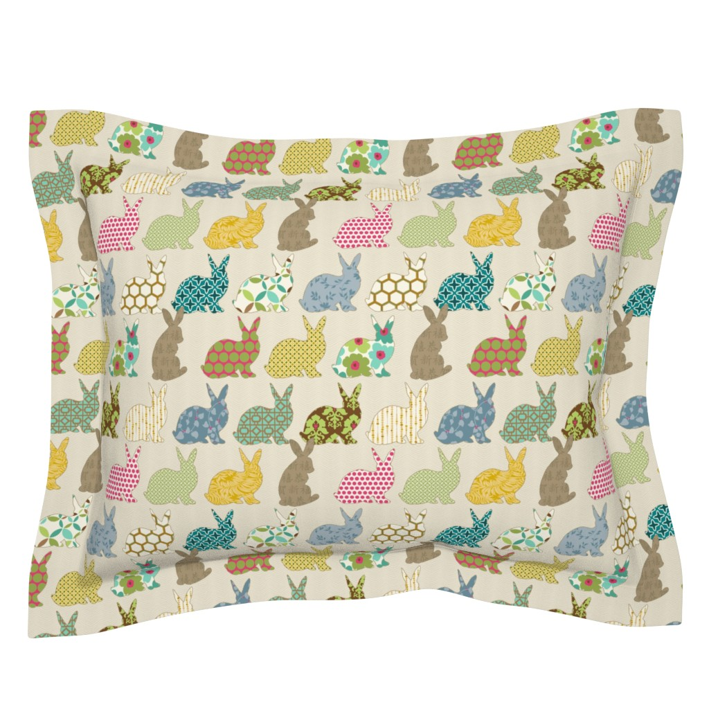 Sebright Pillow Sham featuring year of the COLORFUL rabbit by littlerhodydesign