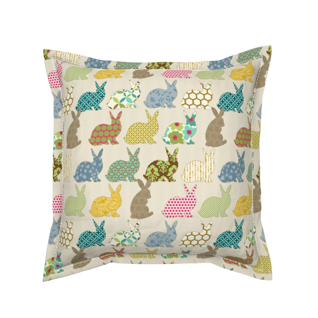 Serama Throw Pillow featuring year of the COLORFUL rabbit by littlerhodydesign