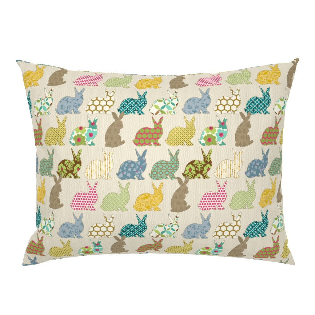 Campine Pillow Sham featuring year of the COLORFUL rabbit by littlerhodydesign