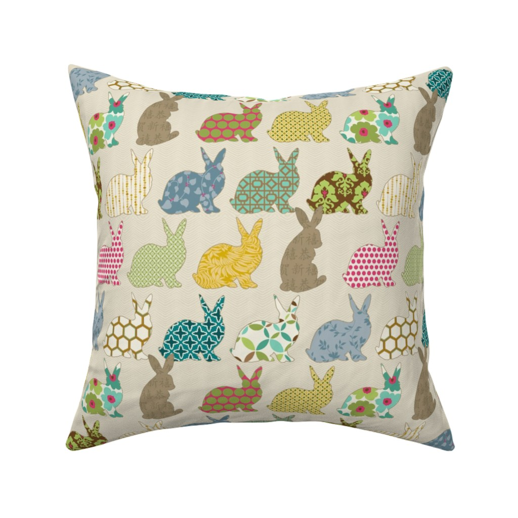 Catalan Throw Pillow featuring year of the COLORFUL rabbit by littlerhodydesign